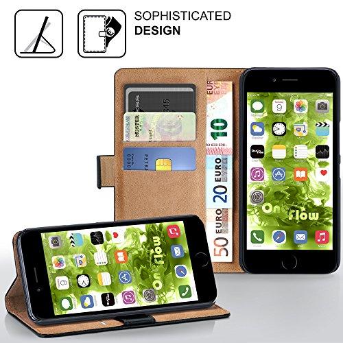 iPhone 6S Hülle Dunkel-Grau mit Karten-Fach [OneFlow 360° Book Klapp-Hülle] Handytasche Kunst-Leder Handyhülle für iPhone 6/6S Case Flip Cover Schutzhülle Tasche DEEP-BLACK