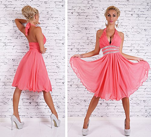 Neckholder Abendkleid mit Strass Abiballkleid Cocktailkleid Chiffon Petticoat Kleid lachs S -