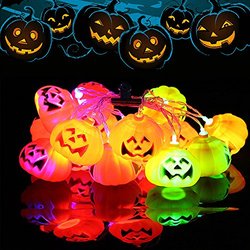 ELINKUME® Halloween Jack-O-Laterne Lichterkette, 16 LEDs 3,2 m/10,5 ft, 3D Kürbis Dekoration String Lights, Für Urlaub, Festival, Party Dekor (RGB)
