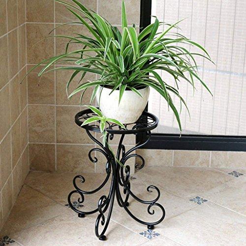 LQB Fleur Racks Côté Européen du Jardin Étagère De Fleur De Fer Plancher Simple Étage Balcon Intérieur Simple Bonsai Cadre,Noir