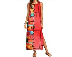COSKPUTY Women's Summer Casual Boho Scoop Neck Floral Beach Maxi Dress