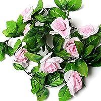Bangle009 Clearance Sale 8ft Artificial Rose Garland Flower Leaf Vine Home Wedding Garden Party Decor Light Pink