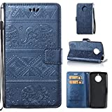 (Nicht für Moto E4 Plus) COWX Motorola Moto E4 Hülle PU Lederhülle für Motorola Moto E4 Tasche Brieftasche Schutzhülle - Blau