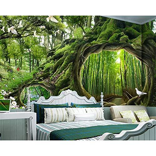 GMYANBZ Tapete Wandbild Magie Forest Tree Cafe Kinderzimmer Hintergrund Wände Wohnkultur Wohnzimmer Schlafzimmer 3D Tapete