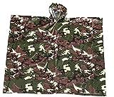 Megaprom Camouflage Flecktarn Army 95 x 125cm Regenponcho mit Kaputze Regenjacke Nässeschutz Wind- und Wasserdicht
