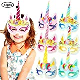 Hilai 12pcs del Unicornio Máscara niños Unicornio Fiesta de cumpleaños favores con el Extra del Unicornio Tatuajes temporales
