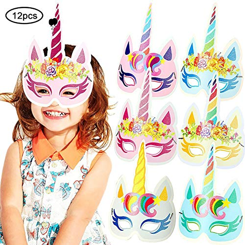 Hilai 12st RegenbogenUnicorn Maske Kinder-Geburtstags-Einhorn-Partei-Bevorzugungen mit Extra-Einhorn temporäre Tätowierungen