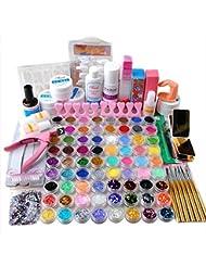 Coscelia Acrylique Poudre Paillette Glitter Brosse à Ongles Pince Nail Art Kit Manucure