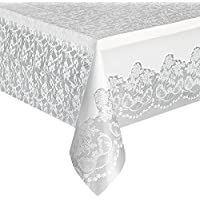 White Lace Plastic Tablecloth, 9ft x 4.5ft