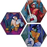 ARTAMORI ® Modern Art 3 Piece Hexagon MDF Painting