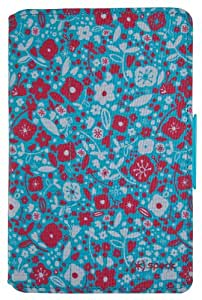 Speck FitFolio Tablet Case Cover with Built-In Stand and Closing Tab for Kindle Fire 7.0 Inch (2011) - Bitsy Floral Blue/Red
