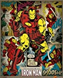 Pyramid International Iron Man Retro Marvel Comics Mini-Poster, Kunststoff/Glas, Mehrfarbig, 40x 50x 1,3cm