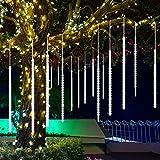 Meteorschauer Lichter, CrazyFire Fallende Lichter 50cm 10 Spiralröhren 480 LEDs, Wasserdicht Schneefall Lichterkette für Festival Hochzeit Garten Baum Dekoration (Kaltes Weiß)