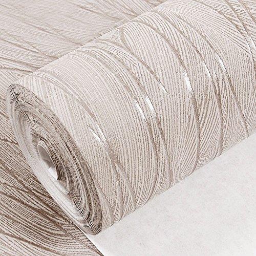 LIUXINDA-BZ Hermoso y práctico Papel tapiz de color sólido, moderno y minimalista de rayas verticales en la pared del salón dormitorio tv no tejido papel tapiz de color sólido, de color café claro