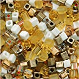 Miyuki 4mm Glass Cube Beads Color Mix Honey Butter #22 10 Grams