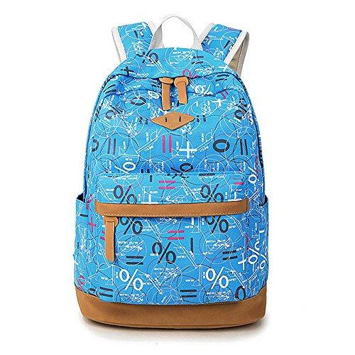 Minetom Impression Graffiti Toile Pratique Sac À Dos Loisir Multi-Fonction Voyages Scolaire Backpack Femme Bleu Ciel