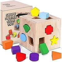Jeu Cubes en Bois Montessori Bébé Forme Correspondant géométriques Jouets de Blocs de Construction Taille Tri Puzzle…