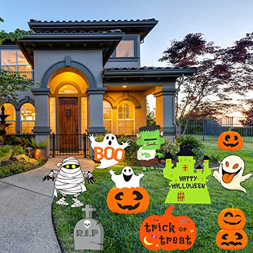 Sayala Decorazioni di Halloween Allaperto 10 Pezzi Boo Pumpkins Fantasma Cartelli da Giardino Ondulato con palo Dolcetto o Scherzetto per Famiglie