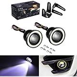 2 X 2.5' COB LED Fog Light Projector Car Auto White Angel Eyes Halo Ring DRL Lamp