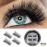Fancyku Magnetic Eyelashes(4 PCS) - Magnet Ultra-thin 0.2mm - 3D Reusable Fake Eyelashes