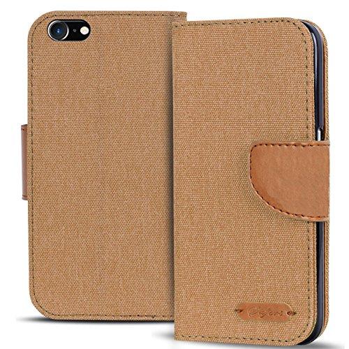 Conie TW1213 Textil Wallet Kompatibel mit iPhone 4 / 4S, Textil Hülle Klapptasche mit Kartenfächer Etui Slim Cover für iPhone 4s Handyhülle Jeans Braun