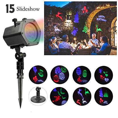 Proiettore luce 15 soggetti decorazioni, infinitoo proiettore impermeabile ip65 luce interno e esterno per compleanno, discoteca, san valentino, pasqua, natale, matrimonio, halloween