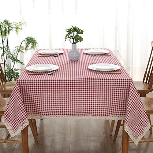 Karierte tischdecke Rechteck & Längliche Vintage square tischtuch Stoff-tischdecke -E 140x140cm(55x55inch) (Stoff-tischdecke Längliche)