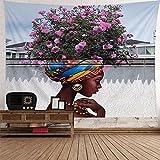Brall Wandteppich Wandbehang Tabelle Vorhang Wand Decor Tisch Couch Bezug Picknick Decke Beach Überwurf Strandtuch Home Dekoration für Schlafzimmer Wohnzimmer Afrikanisches Mädchen Tapisserie