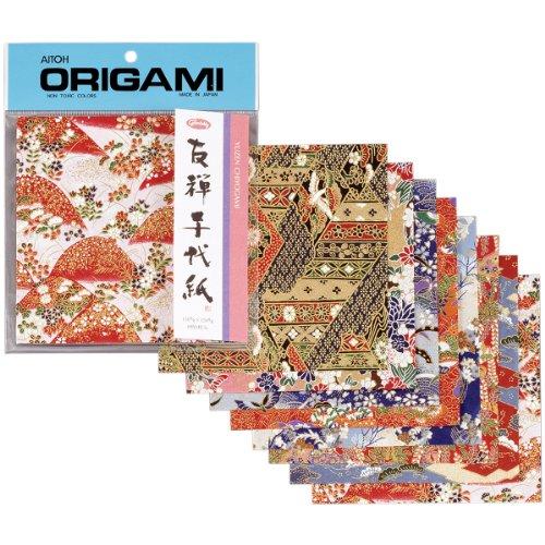 Aitoh Origami Papier 5.875-inch X 5.875-inch 8Sheets-yuzen Washi rot 5.875