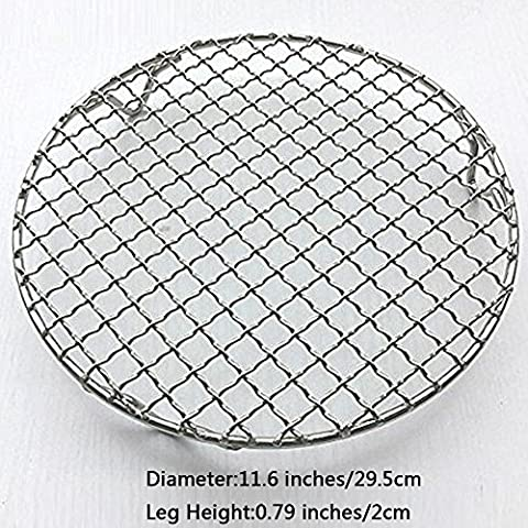 Fittoway Multi-Purpose Round Stainless Steel Cross Wire Round Steaming Cooling Barbecue Racks/Carbon Baking Net/Grills/Pan Grate with Legs (Diameter-11.6
