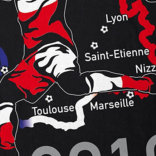 style3 EM 2016 Polen Fan Herren T-Shirt Frankreich alle Spielorte Schwarz