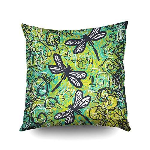 Capsceoll Deko-Kissenbezug mit DREI Libellen, 40,6 x 40,6 cm, Dekoration für Buchliebhaber, Wurm, Sofa, Couch, Baumwolle, Multi 1, 16x16