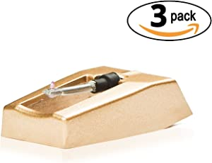 Exuby Record Player Needle W/ Diamond Tip 3-Pack, 1000 Hour Life Span Saves You Money, Turntable Needle Installs in Seconds