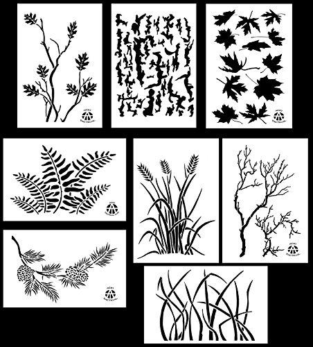 Acid Tactical® 8 Modelle - Camouflage Vinyl Airbrush Sprühfarbe Schablone Vorlagen 35cm - ( Gras , Baumrinde, Weizenfeld, Gnarly Zweig, Ahornblatt, Kiefern-Zweig ) -