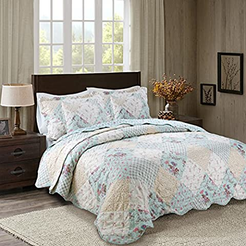 Patchwork Quilted Bedspread Comforter Bed Throw with 2 matching Pillow Shams ® Riccardo Valeria (Anny)