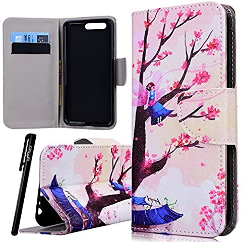 WE LOVE CASE HuaWei P10 Wallet Case , Premium Quqlity Leather Cover with Card Holder Kickstand and Magnetic Closure, Folio Flip Foldable Book Feature Protective Case for HuaWei P10 - Tree Pink