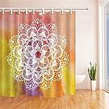 GWELL Boho Mandala Duschvorhang Wasserdicht Anti-Schimmel inkl. 12 Duschvorhangringe Badvorhang für Badezimmer Muster-A 180x210c