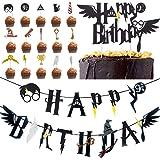 BETOY Cupcake Toppers 17PCS Magicien Articles de fête Décoration gobelets Cupcake inspirés par Les magiciens Bannière…