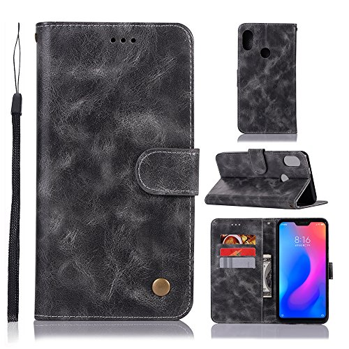 Xiaomi Mi A2 Lite Case Flip, Homory Cover Suit Premium Vertical Leather Pouch Sleeve Carrying Case Leather Cover with Card Slot for Xiaomi Mi A2 Lite (Grey) Vertical Slim Case