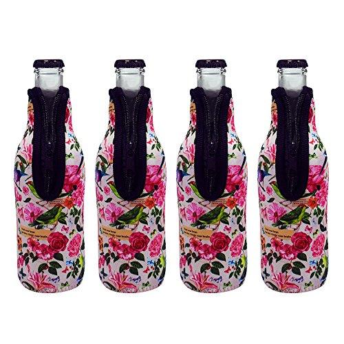 Acelane Bierflasche Cooler Sleeves Drink Coolie Dosenhalter mit Reißverschluss Neopren Isolierte Abdeckung für Travel Party Holiday-Set von 4