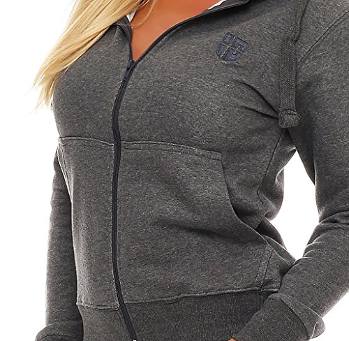 Gennadi Hoppe Damen Trainingsjacke Sweatjacke Uni Hoody Mädchen Zip Kapuzenpulli Hoodies Sweatshirt Grau