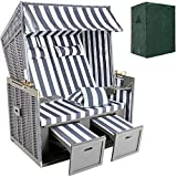 TecTake Luxury roofed wicker beach chair + protective cover + 2 cushions -different colours- (Grey-White)