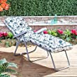Garden Sun Lounger - Silver Adjustable Multi Position Foldable Frame with Classic Cushion in Choice of Prints (Oxford Green)