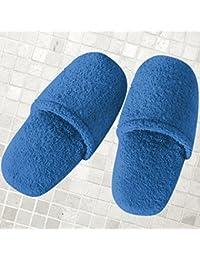 Burrito Blanco Zapatillas de Baño/Zapatillas de Toalla/Zapatillas de Ducha para Hombre Lisas de RIZO Algodón 100% Talla 46, Color Gris Claro
