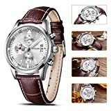 SONGDU Mens Multi-Function Quartz Sports Watch with Stainless Steel Watch case and Brown Pin Buckle Leather Strap DM-9202-P01AYA——Ideal and Celebrative Gift for Christmas and New Year Sales