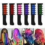 Etmury ensemble de 6 couleurs de craie temporaire pour cheveux.  Lorsque vous voulez vraiment obtenir un look différent et éblouissant, mettre des couleurs vives et vibrantes dans vos cheveux est une excellente façon de le faire. Avec les peignes Cha...