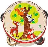 Unbekannt Tamburin - aus Holz -  Waldtiere - Fuchs & REH  - mit Metall Schellen / für Kinder & Erwachsene - Perkussion - Tambourin - Handtrommel - Musikintrument / In..