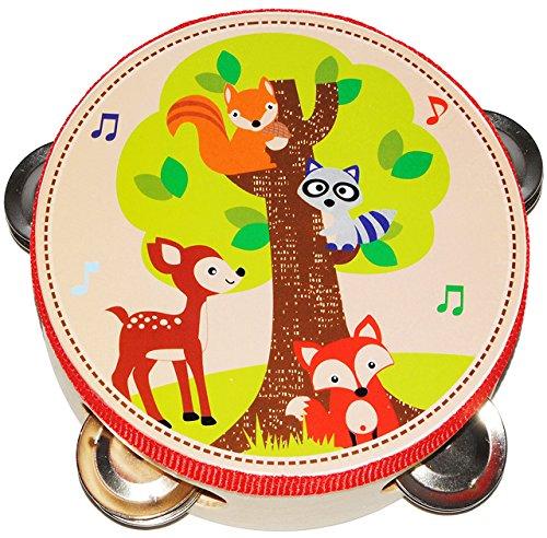 """Tamburin - aus Holz - """" Waldtiere - Fuchs & Reh """" - mit Metall Schellen / für Kinder & Erwachsene - Perkussion - Tambourin - Handtrommel - Musikintrument / Instrument - Musikinstrumente - Rahmentrommel - Holzspielzeug - Schlaginstrument / Kinderinstrument - Schelleninstrument - Tiere Waschbär Eichhörnchen - Kindertrommel - Holztambourin"""