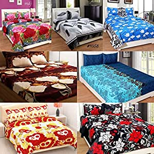 RS Home Furnishing Glace Cotton Combo Set of 7 Double Bedsheets with 14 Pillow Cover,Multicolor