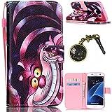 PU Cuir Coque Strass Case Etui Coque étui de portefeuille protection Coque Case Cas Cuir Swag Pour( Samsung Galaxy S7 Edge)+Bouchons de poussière (14)